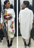 White Monogram Patchwork Sequin Long Sleeve Band Collar Streetwear Midi Dress