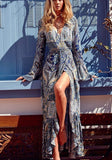 Blue Floral Belt Sashes V-neck Boho Maxi Front Slit Summer Beach Dress