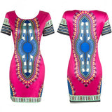 Rose-Carmine Geometric Tribal African Print Round Neck Short Sleeve Slim Aztec Midi Dress