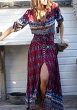 Floral V-neck Elbow Sleeve Front Slit Bohemian Maxi Dress