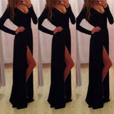 Black V Neck Side Slit Floor Length Ball Gown Maxi Dress