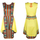 Yellow African Tribal Print Double-deck Sleeveless Midi Dress