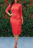 Red Polka Dot Ruffle Bodycon Formal 3/4 Sleeve Elegant Party Midi Dress