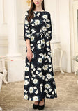 White Floral Belt Elbow Sleeve Fashion Maxi Dress