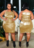 Latex Bodycon Spaghetti Strap Plus Size Round Neck Party Midi Dress