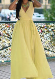 Yellow Sashes Double Slit Flowy V-neck Bohemian Las Vegas Party Maxi Dress
