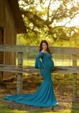 Blue Draped Off Shoulder Mermaid Big Swing Bell Sleeve Maternity Maxi Dress