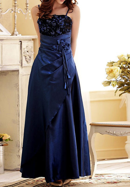 Royal Blue Patchwork Spaghetti Strap Sashes Off Shoulder Backless Elegant Party Maxi Dress