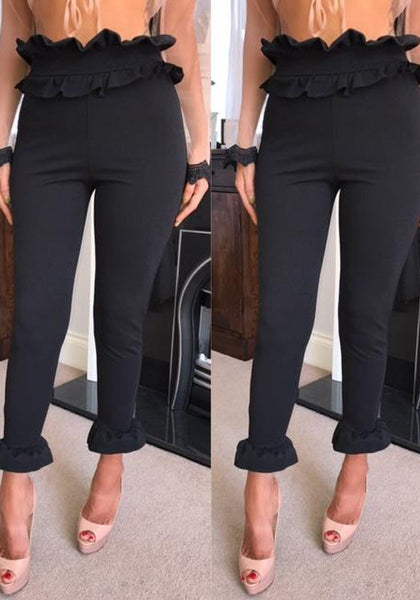 Black Irregular Ruffle Elastic Waist Nine's Casual Pants
