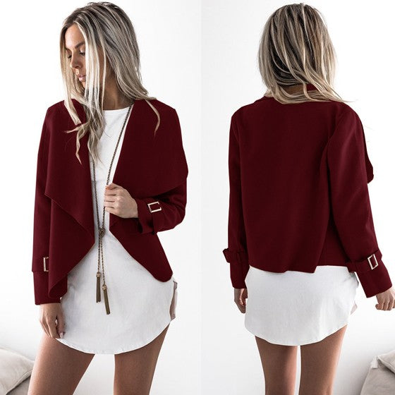 Wine Red Studded Turndown Collar Fashion Polyester Coat