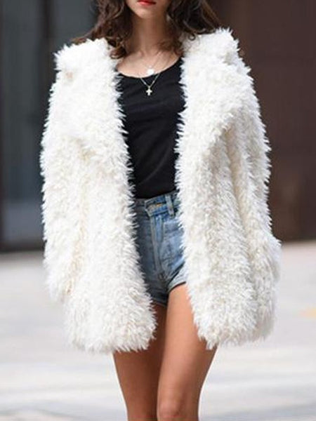 White Faux Fur Pockets Turndown Collar Long Sleeve Coat