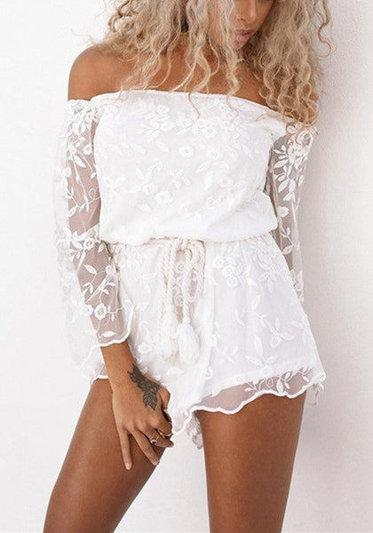 White Patchwork Embroidery Grenadine Drawstring Waist Short Jumpsuit
