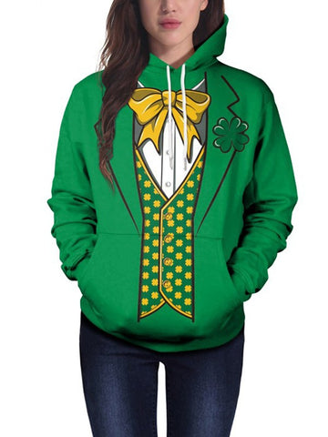 Green Floral Bow Four-leaf Clover Print Pockets Drawstring Hooded Long Sleeve Casual Sweatshirt