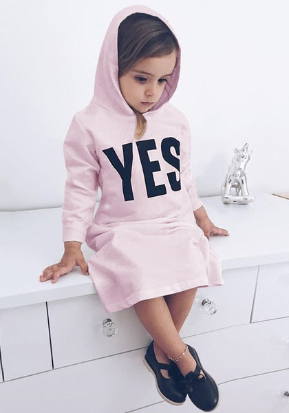 Pink YES Monogram Print Slit Hooded Sweet Casual Baby Maxi Dress