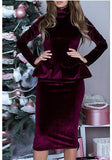 Wine Red Ruffle High Neck Long Sleeve Fashion Midi Dress
