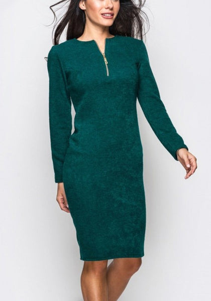 Green Plain Zipper Round Neck Fashion Midi Dress