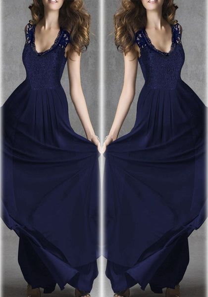 Navy Blue Patchwork Draped Lace Zipper V-neck Sleeveless Elegant Prom Maxi Dress