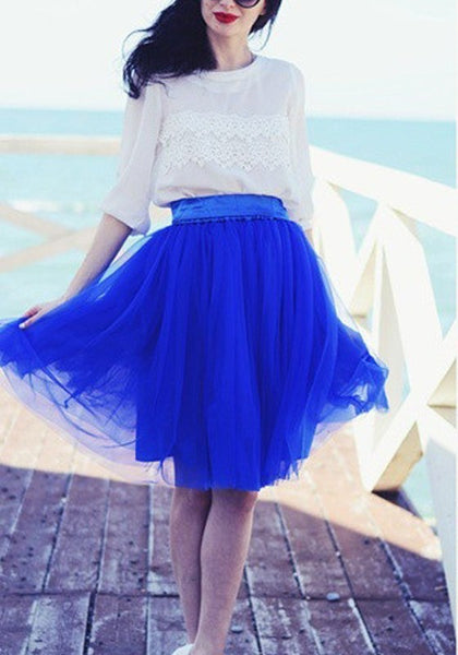Royal Blue Grenadine Sashes Bowknot High Waisted Plus Size Fluffy Tutu Cute Skirt