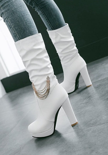 White Round Toe Chunky Chain Casual Mid-Calf Boots
