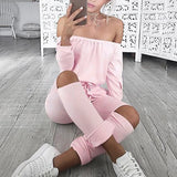 Pink Plain Pockets Drawstring Cut Out Fashion Long Jumpsuit