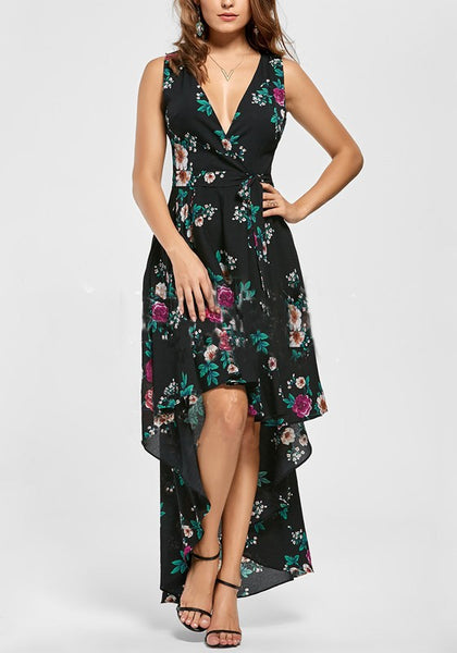 Black Cross Pleated Swallowtail High-Low Flowy Deep V-neck Bohemian Party Maxi Dress