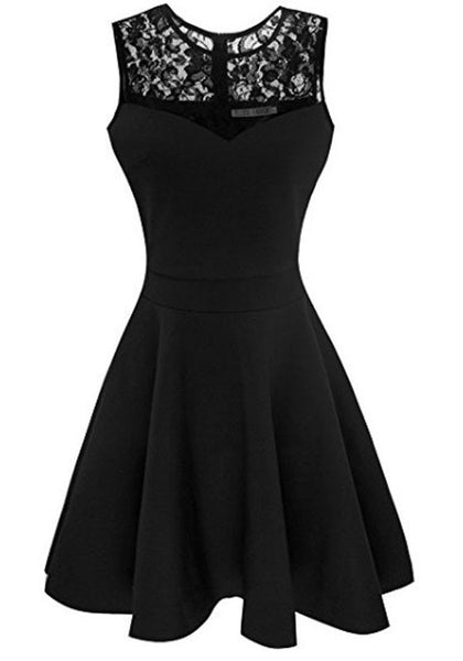 Black Patchwork Lace Pleated Bodycon Round Neck Party Midi Dress