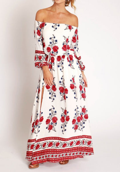 White Flowers Slit Off Shoulder Long Sleeve Maxi Dress