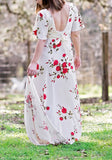 White Floral Lace-up Backless Maternity For Babyshower Elegant Maxi Dress