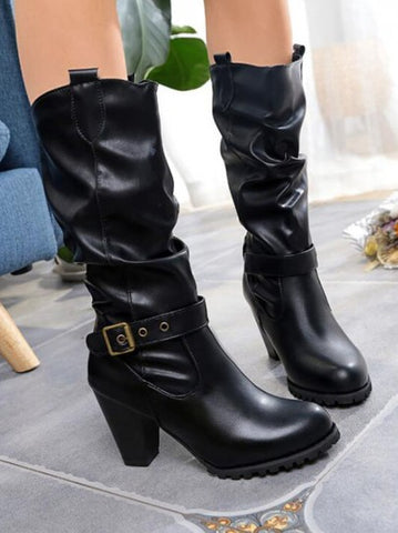 Black Round Toe Chunky Sequin Fashion Mid-Calf Boots