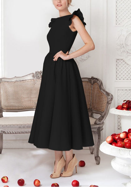 Black Plain Pleated Round Neck Elegant Midi Dress