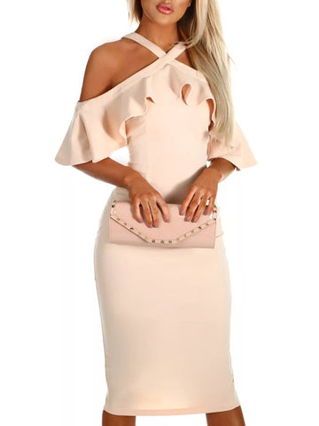 Apricot Cascading Ruffle Short Sleeve Fashion Midi Dress