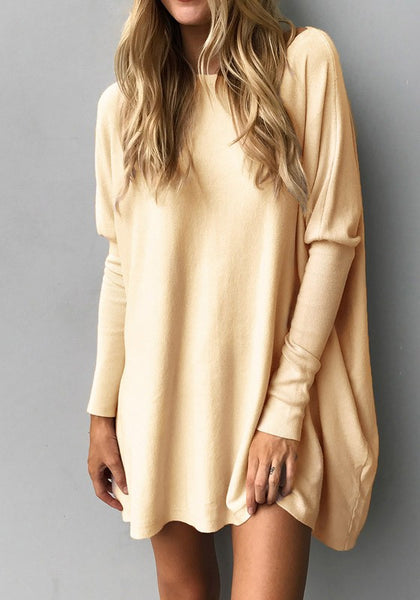 Khaki Irregular Round Neck Long Sleeve Casual T-Shirt