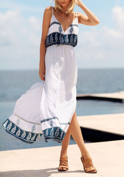 White Floral Print Side Slit Deep V-neck Spaghetti Straps Flowy Bohemian Maxi Dress
