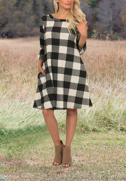 Grey-White Plaid Pockets 3/4 Sleeve checkered Tunic Casual Midi Dress