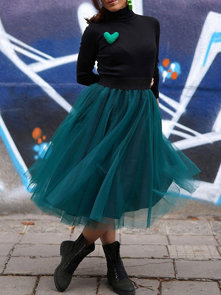 Green Patchwork Grenadine Pleated Tulle Tutu High Waisted Skirt