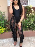 Black Lace Ruffle Sheer High Waisted Party Clubwear Long Pant