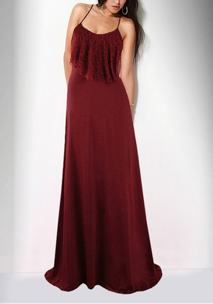 Burgundy Lace Ruffle Spaghetti Strap High Waisted Bridesmaid Elegant Banquet Party Maxi Dress