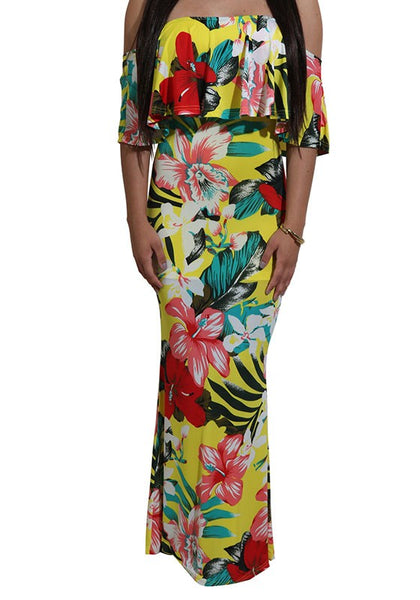 Yellow Flowers Print Ruffle Off-Shoulder Slim Maxi Dress
