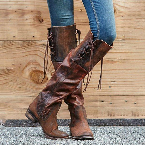 New Lace-up Low Heel Boots Vintage PU Winter Boots with Back Zippers