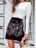 New Black Embroidery High Waisted Bodycon Fashion Skirt