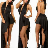 Black Plain Irregular Pleated Halter Neck Backless Maxi Dress