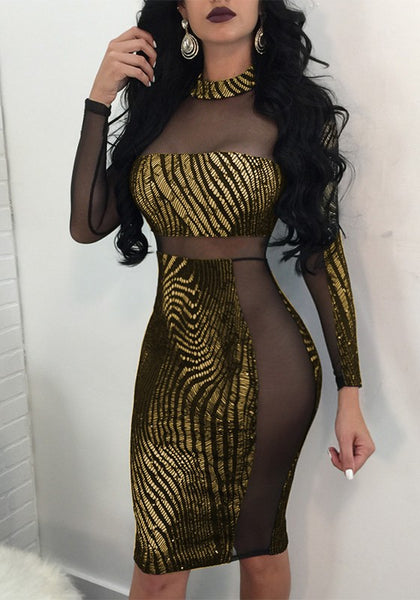 Golden Patchwork Grenadine Bronzing Sparkly Long Sleeve Bodycon Clubwear Party Midi Dress