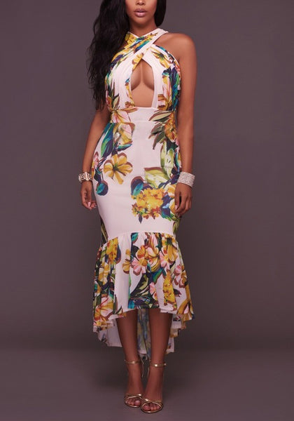 White Floral Print Cut Out Cross Back Halter Neck Maxi Dress