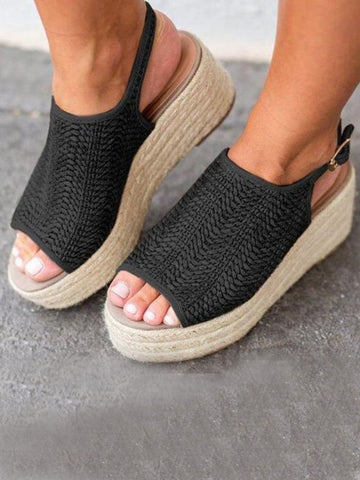 Black Piscine Mouth Wedges Fashion Mid-Heeled Sandals