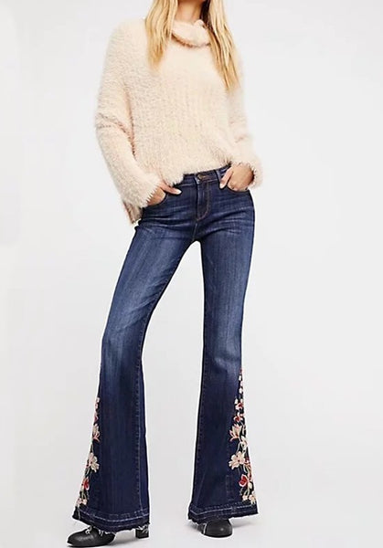 Dark Blue Buttons Pockets Embroidery High Waisted Mom Flare Long flare Long Jeans