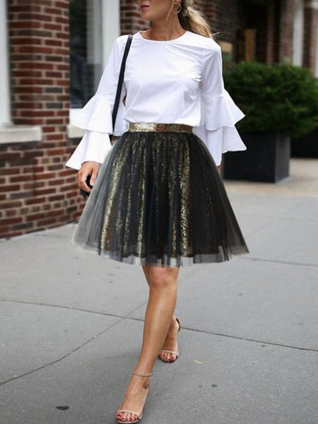 Golden Black Patchwork Sequin Grenadine Pleated High Waisted Skirt