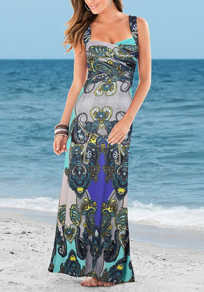 Blue Floral Print V-Back Neck Fashion Maxi Dress