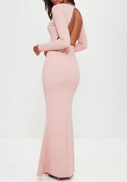 Pink Backless Round Neck Long Sleeve Elegant Cocktail Party Maxi Dress