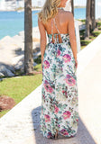 White Draped Spaghetti Strap Halter Neck Backless Flowy Vegas Bohemian Beach Maxi Dress