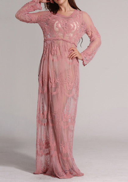 Pink Patchwork Lace Grenadine See-through Round Neck Maxi Dress